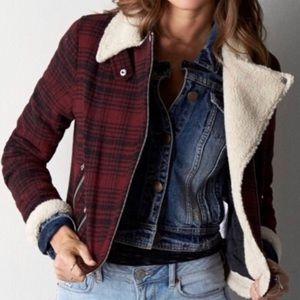 AEO Red Plaid Sherpa Lined Moto Jacket Coat Small